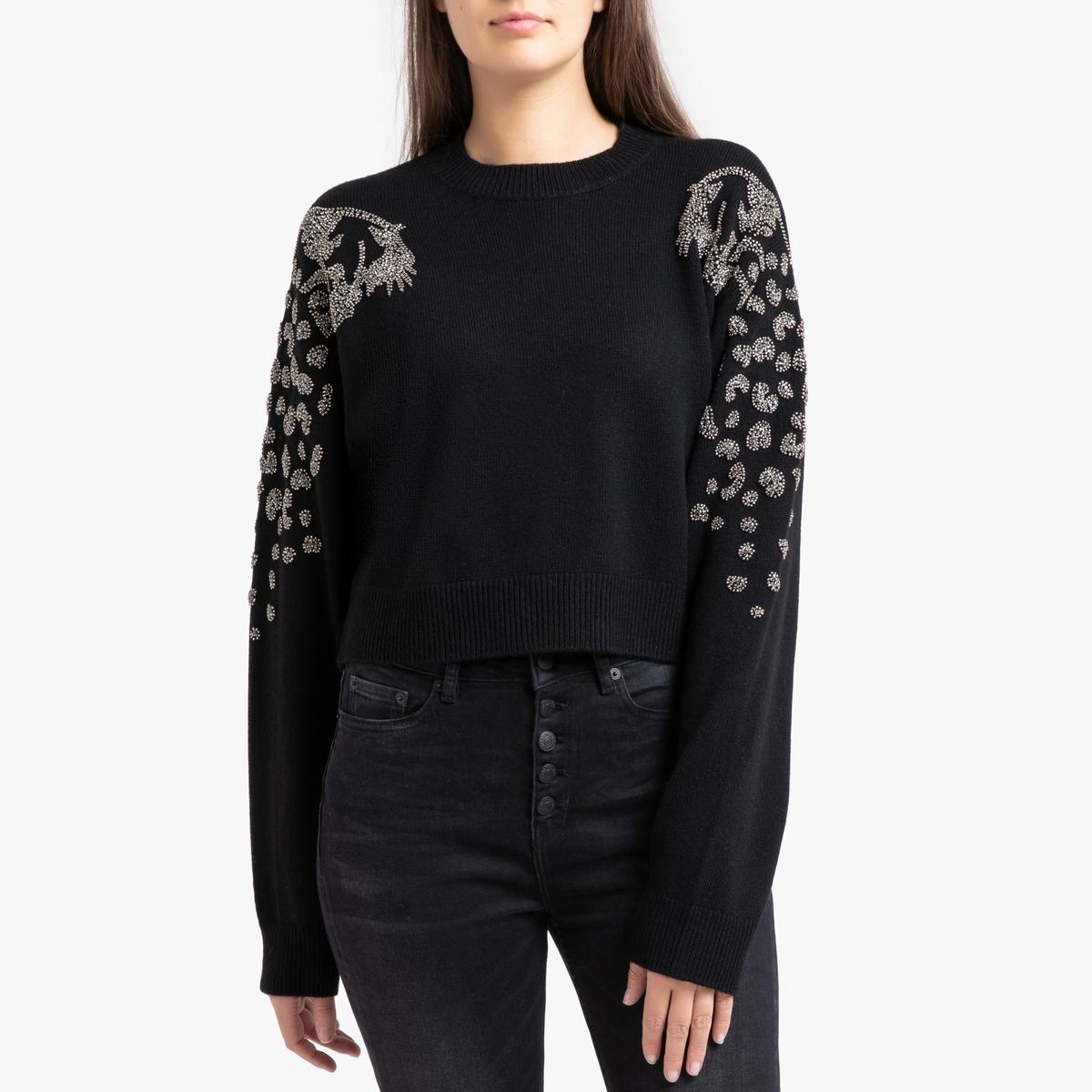 Пуловер La Redoute С круглым вырезом из трикотажа со стразами на плечах 2(M) черный ic men коричневый пуловер из кашемира