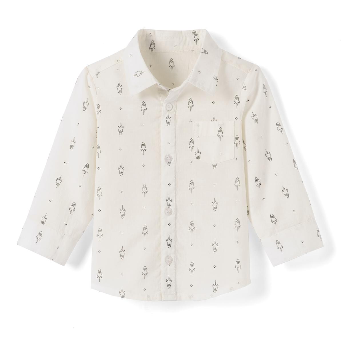 Рубашка с рисунком и длинными рукавами 1 мес.- 3 лет