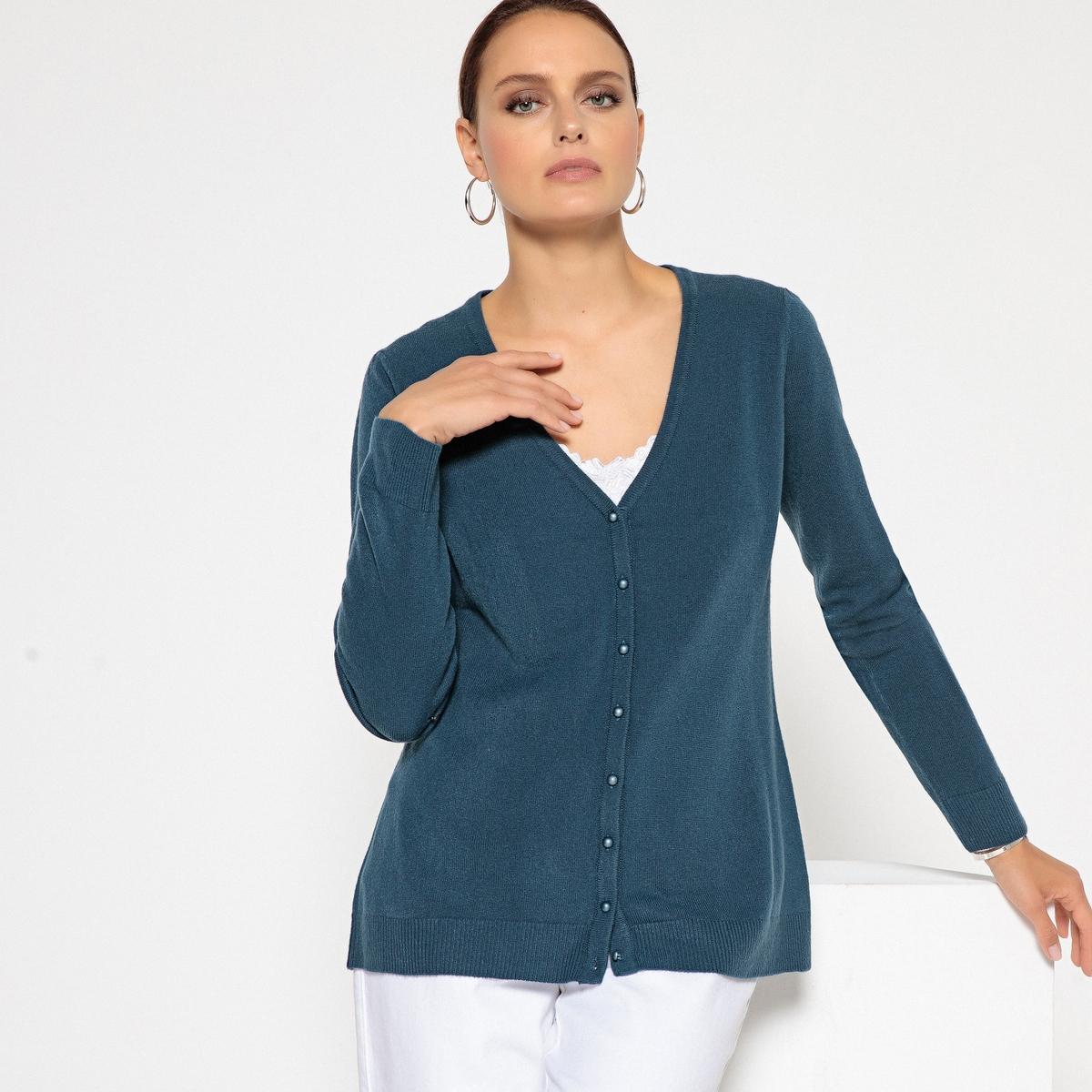Sweter rozpinany z dekoltem w serek, kaszmirowy w dotyku