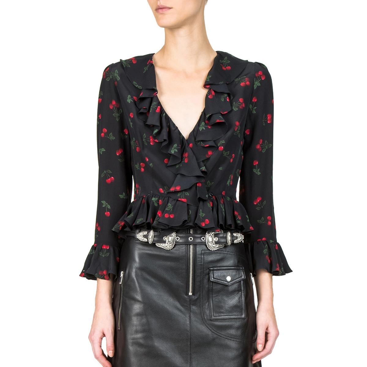 Блузка с принтом и воланами