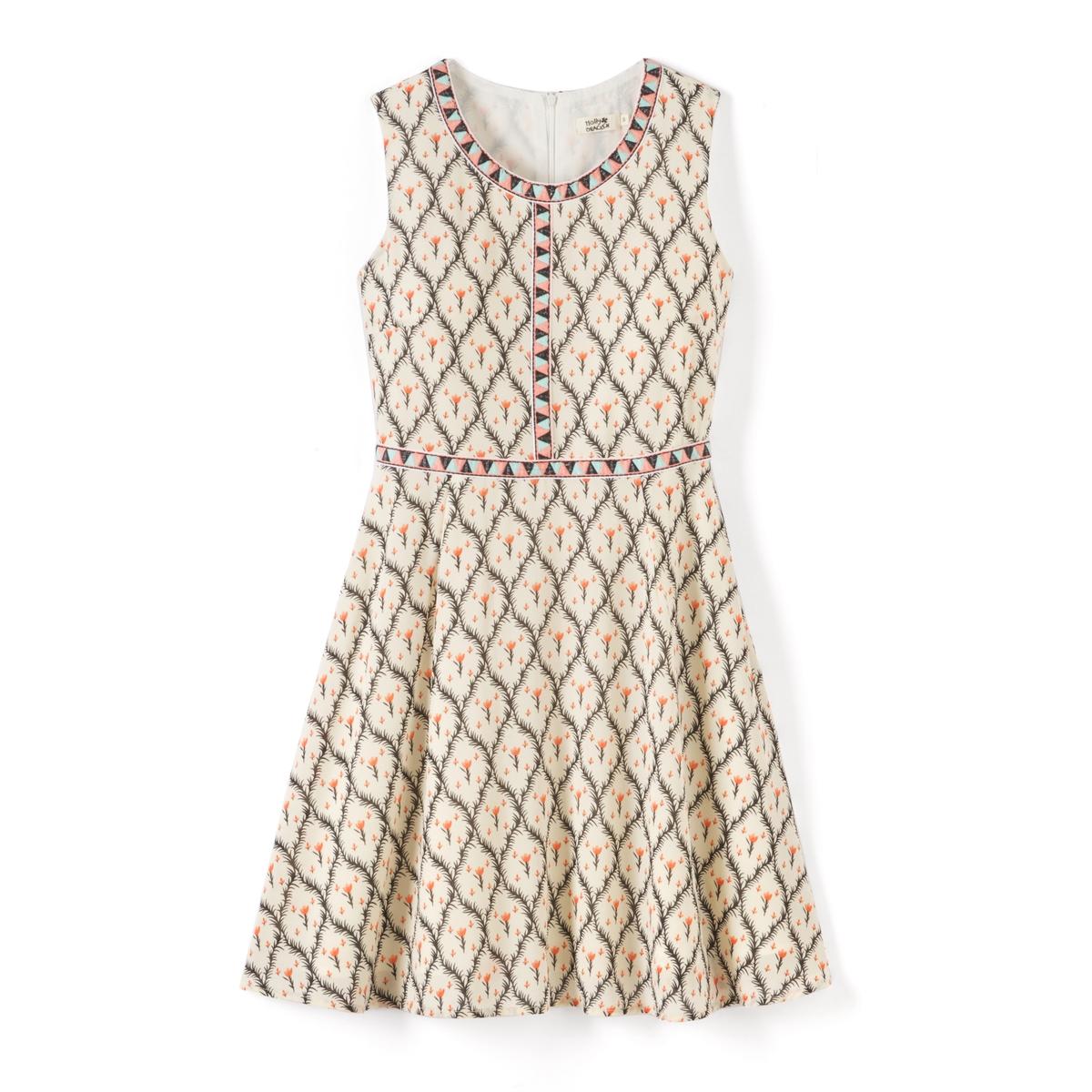 Платье без рукавов с геометрическим рисункомМатериал : 100% полиэстер  Длина рукава : без рукавов  Форма воротника : Круглый вырез Покрой платья : расклешенное платье. Рисунок : принт.   Длина платья : короткое.<br><br>Цвет: рисунок/экрю