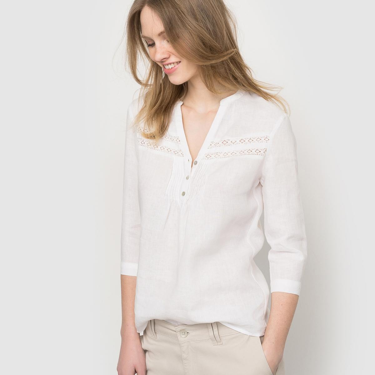 Блузка из хлопка и льна - R essentielСостав и описание:  Материал: хлопок и лен.  Марка: R essentiel.<br><br>Цвет: белый