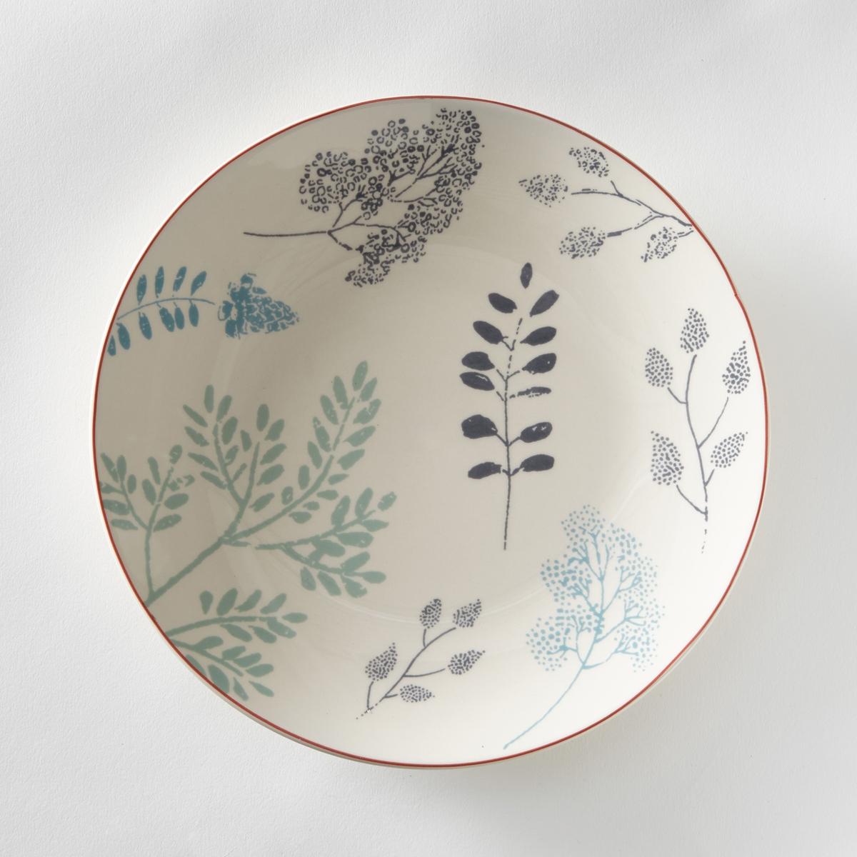4 тарелки плоские с рисунком гербарийХарактеристики 4 плоских тарелок  с рисунком гербарий   :- Из крашенного фаянса  .Подходит для посудомоечной машины и микроволновой печи.  Размер тарелок :- Диаметр 26,5 см    . Десертные тарелки и чашки того же комплекта продаются на сайте laredoute   .ru<br><br>Цвет: набивной рисунок<br>Размер: единый размер