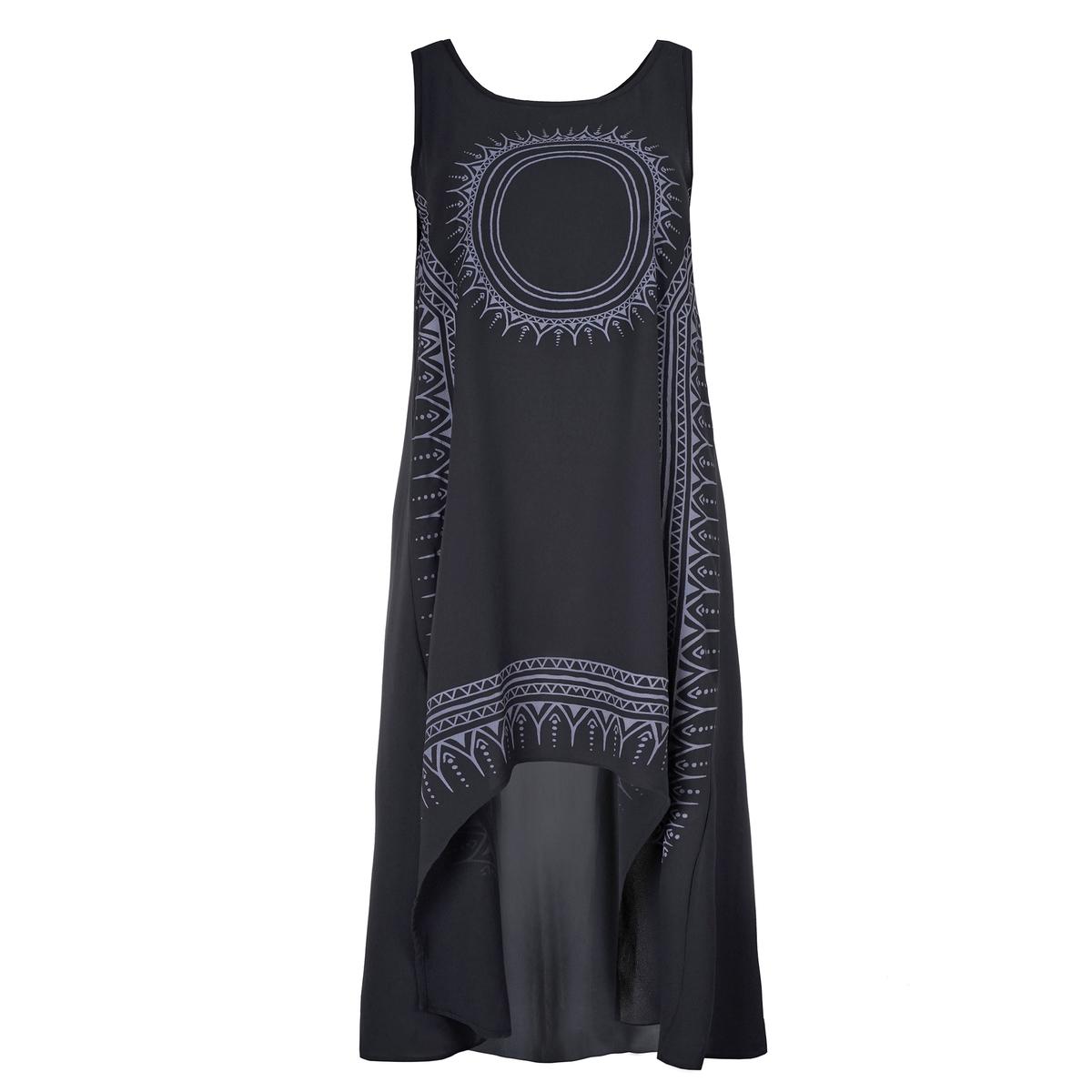 ПлатьеАсимметричное платье без рукавов MAT FASHION. 96% полиэстера, 4% эластана. Асимметричный объемный покрой с рисунком спереди. Без рукавов. Закругленный вырез .<br><br>Цвет: черный