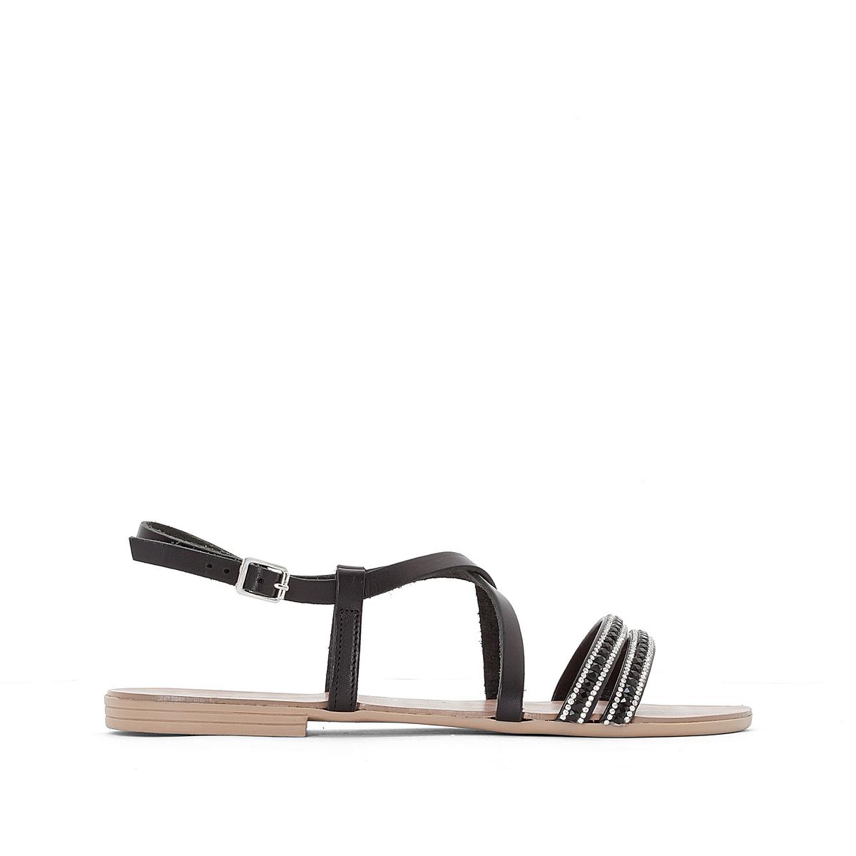 Сандалии кожаные Nil LeatherВерх/Голенище : кожа   Стелька : кожа  Подошва : каучук  Высота каблука : 1 см  Форма каблука : плоский каблук  Мысок : закругленный мысок Застежка : пряжка<br><br>Цвет: черный<br>Размер: 37