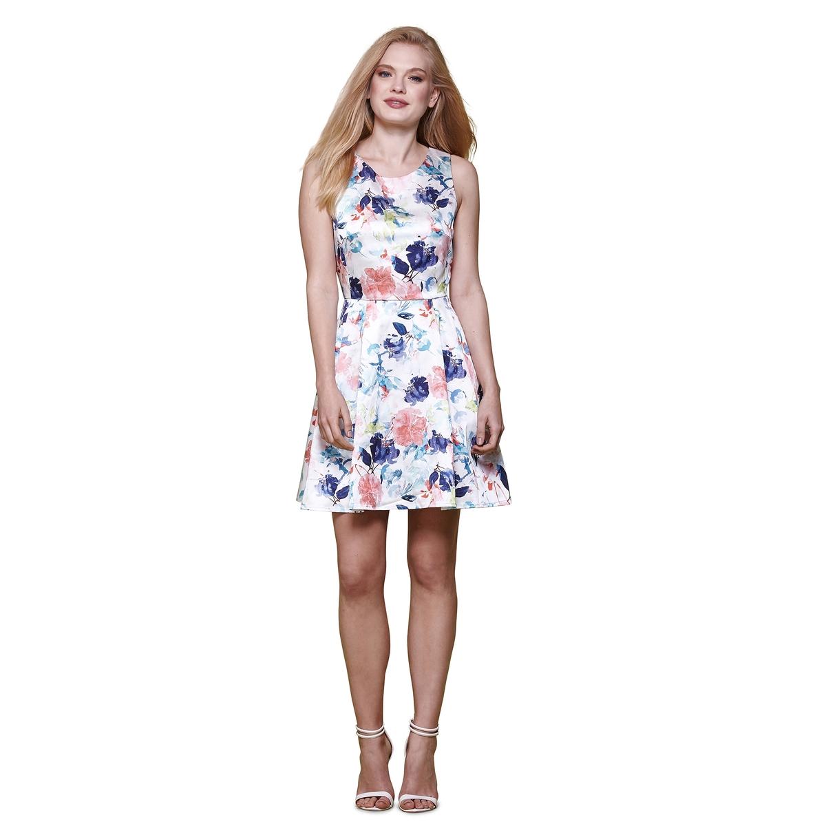 Платье без рукавов с цветочным рисункомМатериал : 23% хлопка, 2% эластана, 75% полиэстера   Длина рукава : без рукавов   Форма воротника : круглый вырез  Покрой платья : расклешенное платье  Рисунок : цветочный    Длина платья : до колен<br><br>Цвет: синий/ розовый