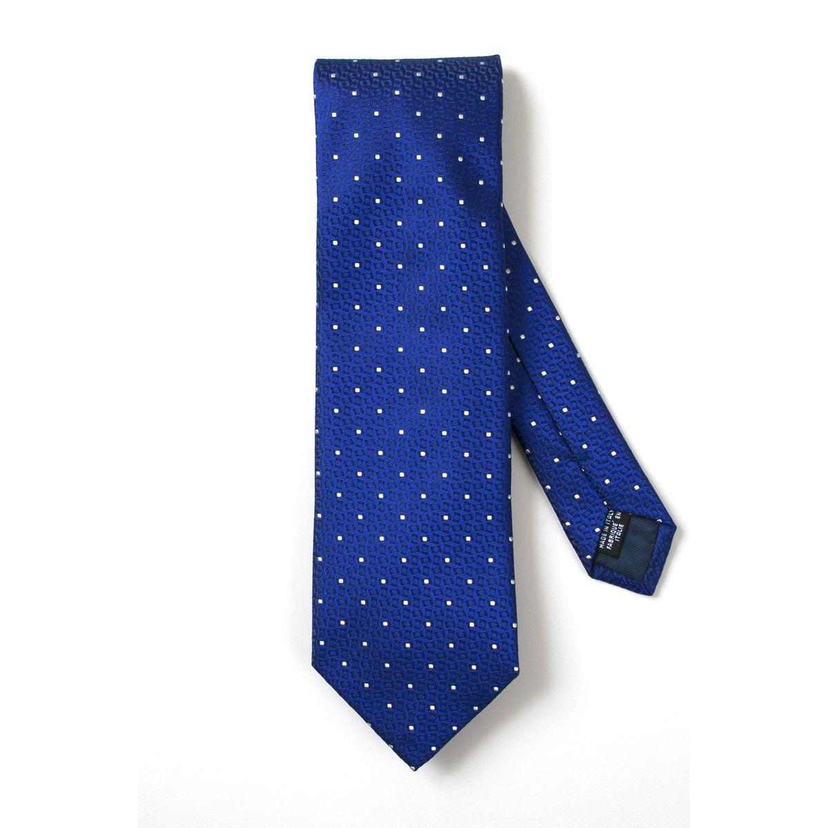 Cravate soie pois blancs