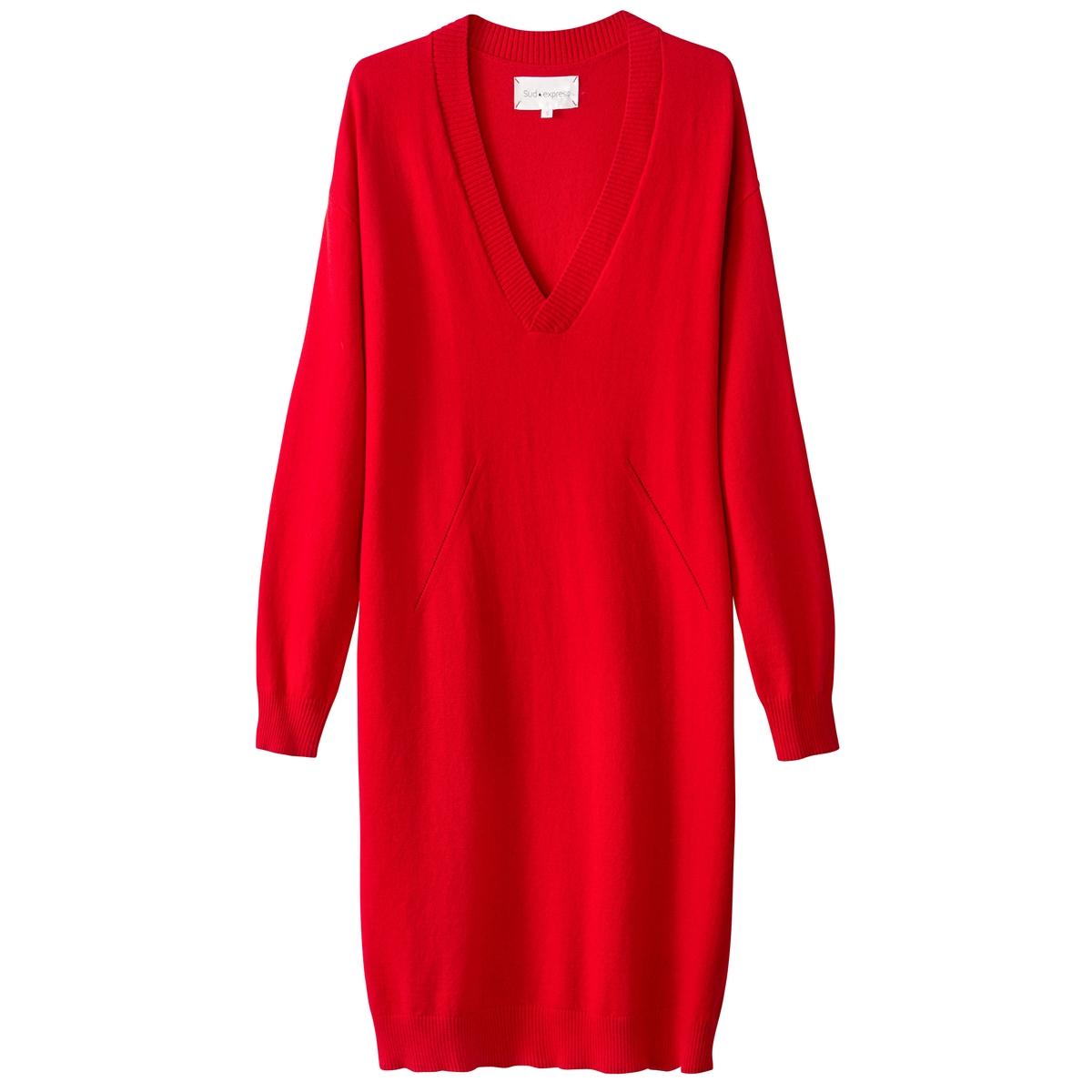 Платье-пуловер прямое с длинными рукавамиДетали  •  Форма : платье-пуловер •  Укороченная модель •  Длинные рукава    •   V-образный вырезСостав и уход  •  20% шерсти, 80% хлопка •  Следуйте советам по уходу, указанным на этикетке<br><br>Цвет: черный