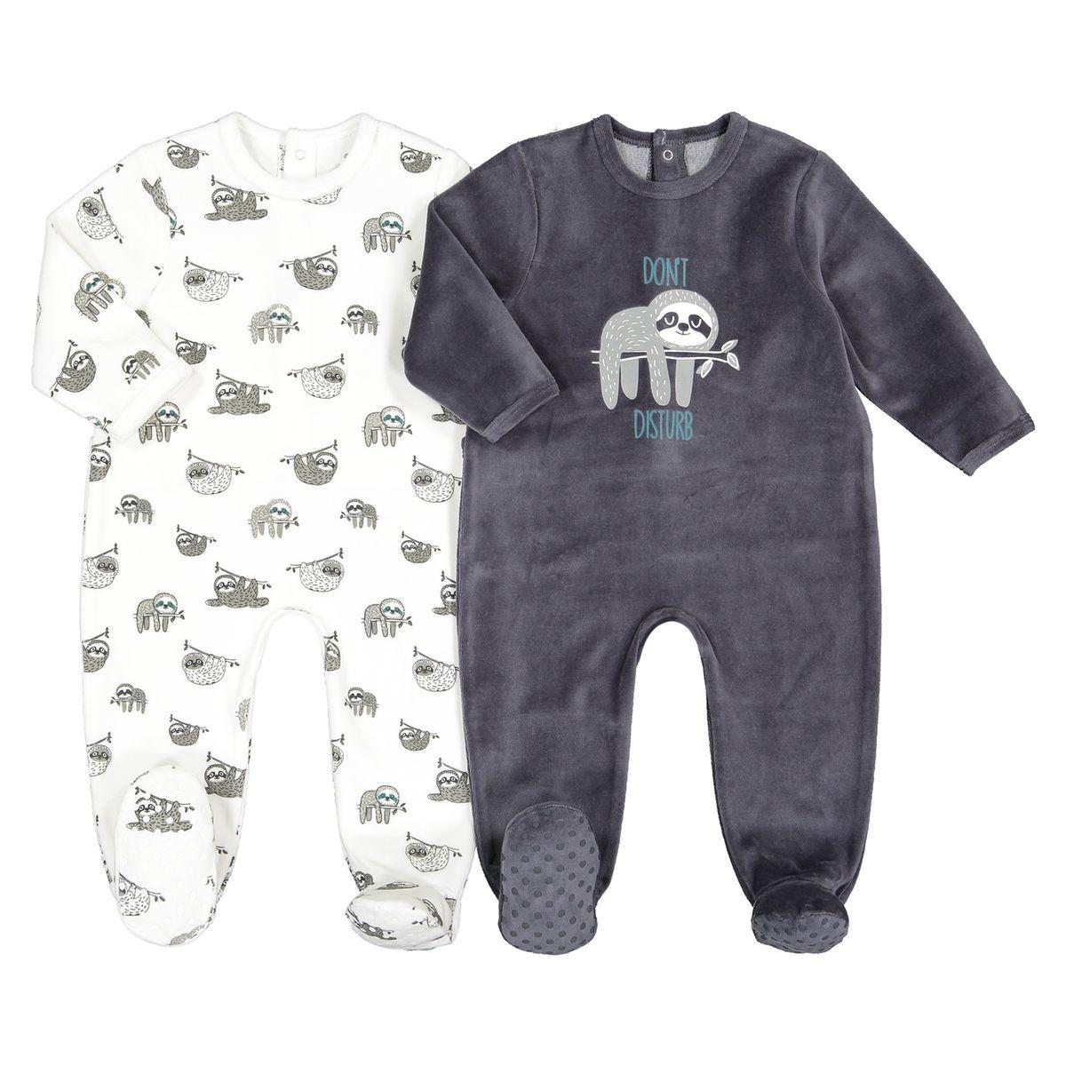 Lot de 2 pyjamas 1 pièce velours 0 mois-3 ans
