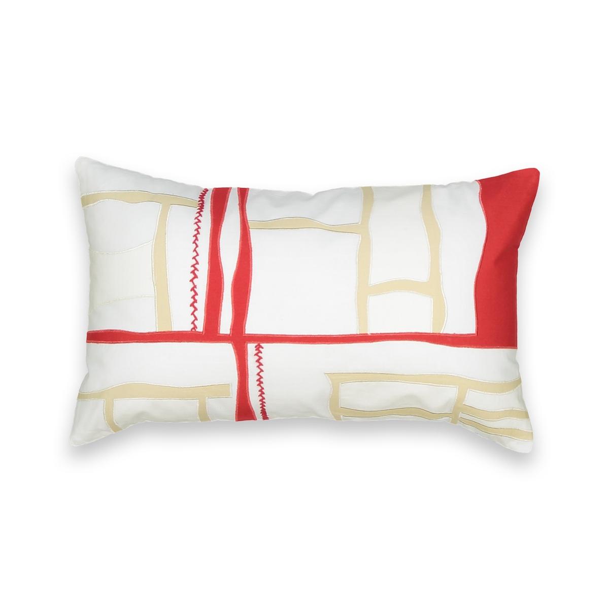 Чехол La Redoute На подушку-валик в стиле пэчворк с вышивкой 50 x 30 см белый наволочка la redoute flooch 50 x 30 см бежевый