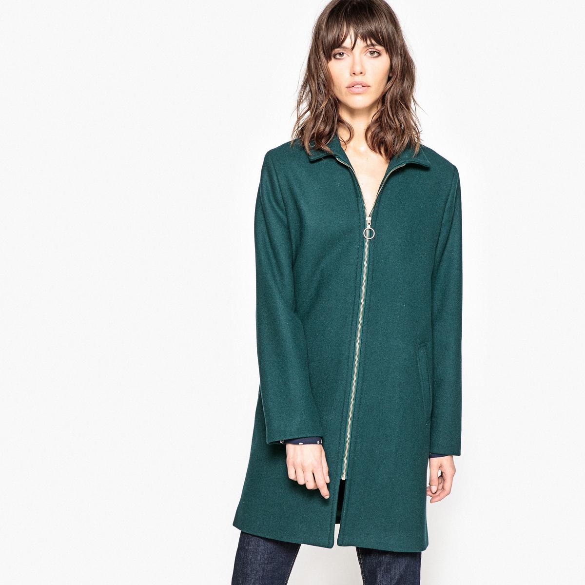 Пальто на молнии из шерстяного драпа пальто шинель из шерстяного драпа