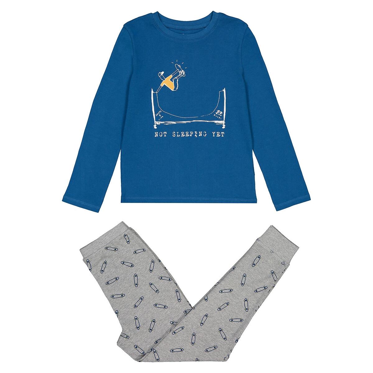 Пижама LaRedoute Из биохлопка с принтом скейтборд 3-12 лет 6 лет - 114 см синий скейтборды oxelo скейтборд детский play120 bear синий