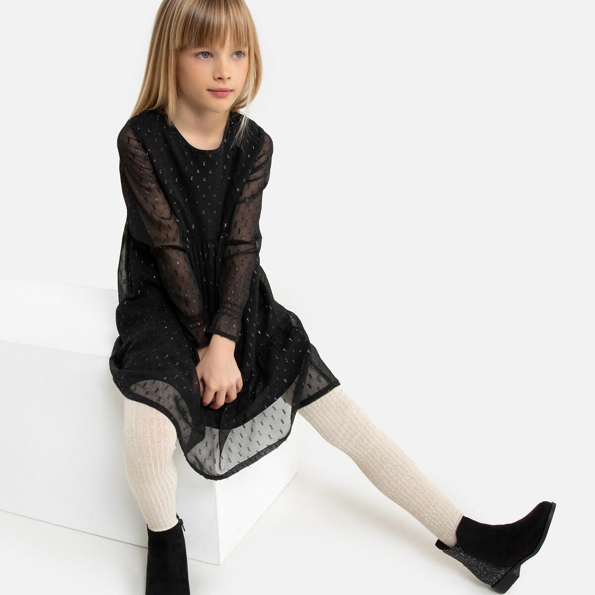 Платье LaRedoute С длинными рукавами из расшитой гладью ткани 2-14 лет 6 лет - 114 см черный
