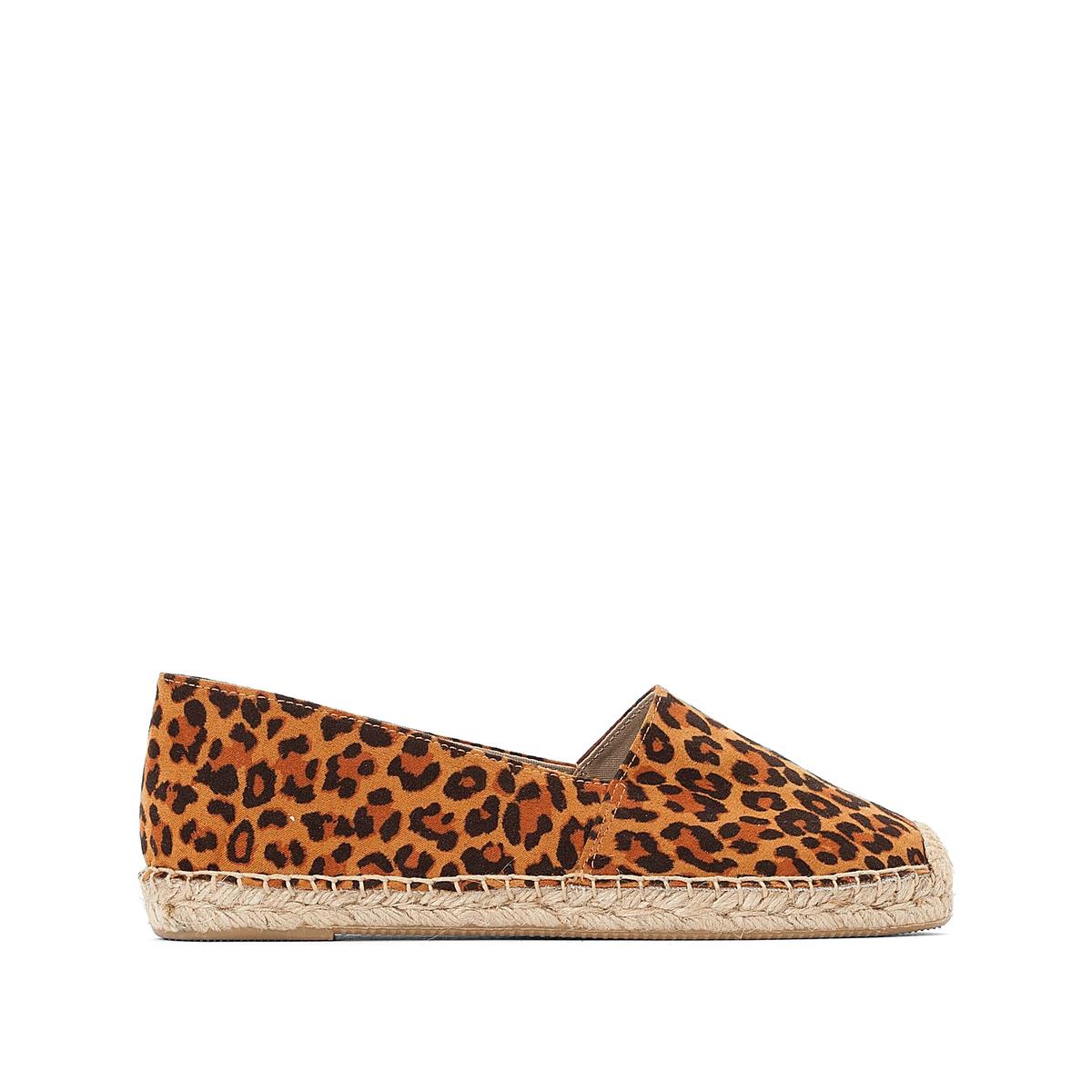 Туфли-эспадрильи La Redoute Без задника с леопардовым рисунком 41 каштановый туфли без задника кожаные с блестящими деталями
