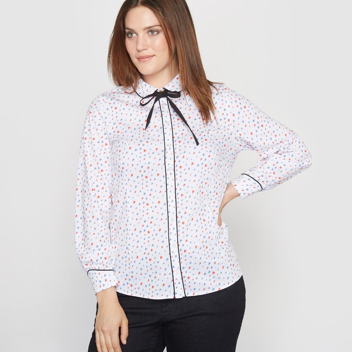 Блузка с закругленным отложным воротником, однотонная или с рисунком