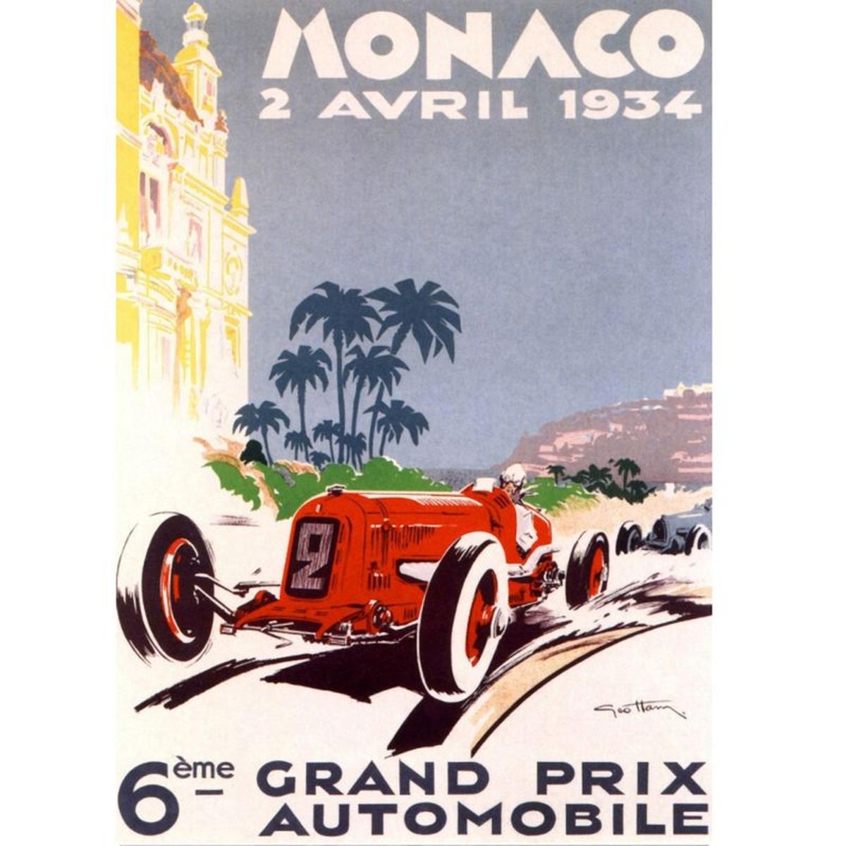 Affiche rectangulaire Monaco 1934