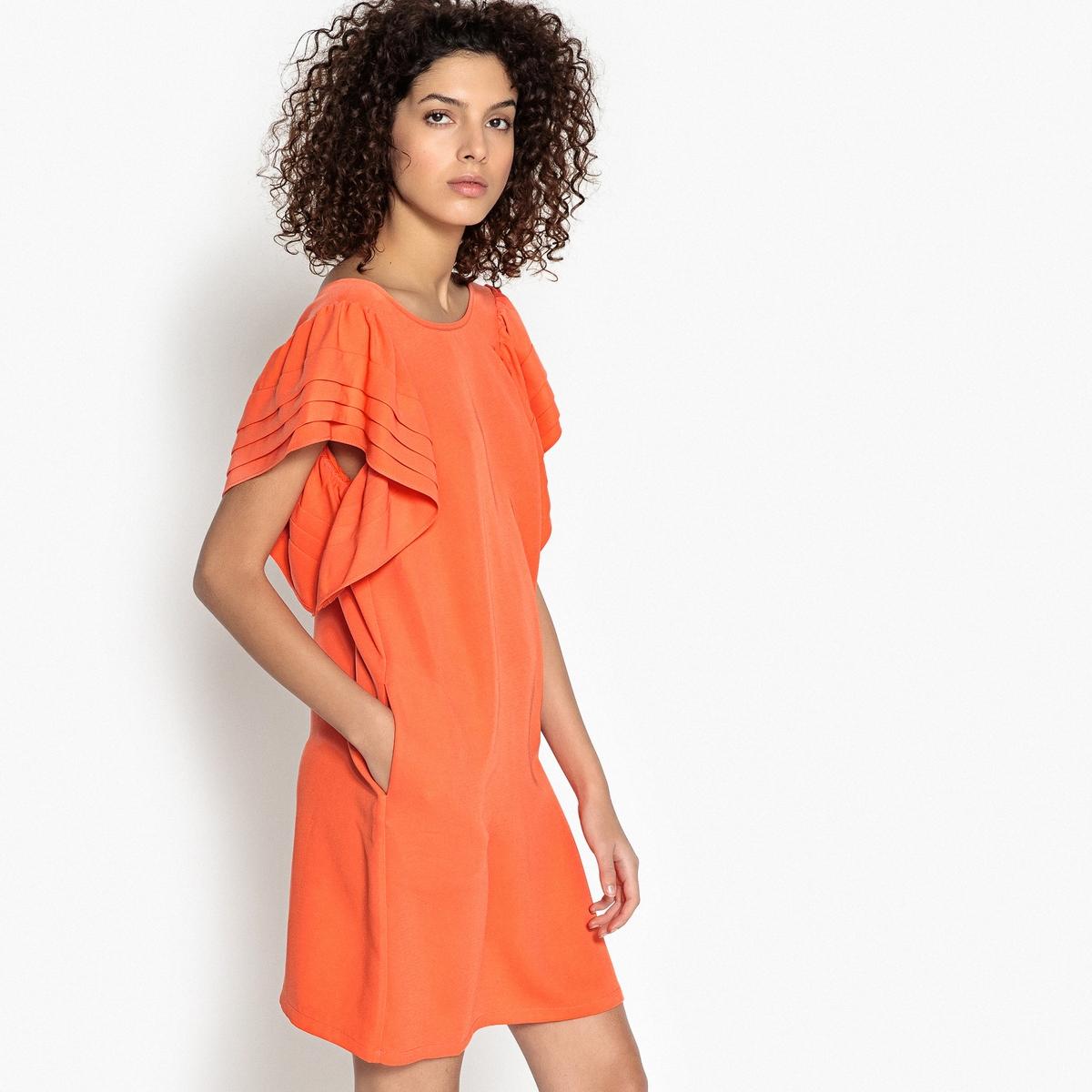 Платье короткое прямое однотонное с короткими рукавамиОписание:Детали •  Форма : прямая •  Укороченная модель •  Короткие рукава    •  Круглый вырезСостав и уход •  5% эластана, 95% полиэстера  •  Следуйте рекомендациям по уходу, указанным на этикетке изделия<br><br>Цвет: оранжевый,черный