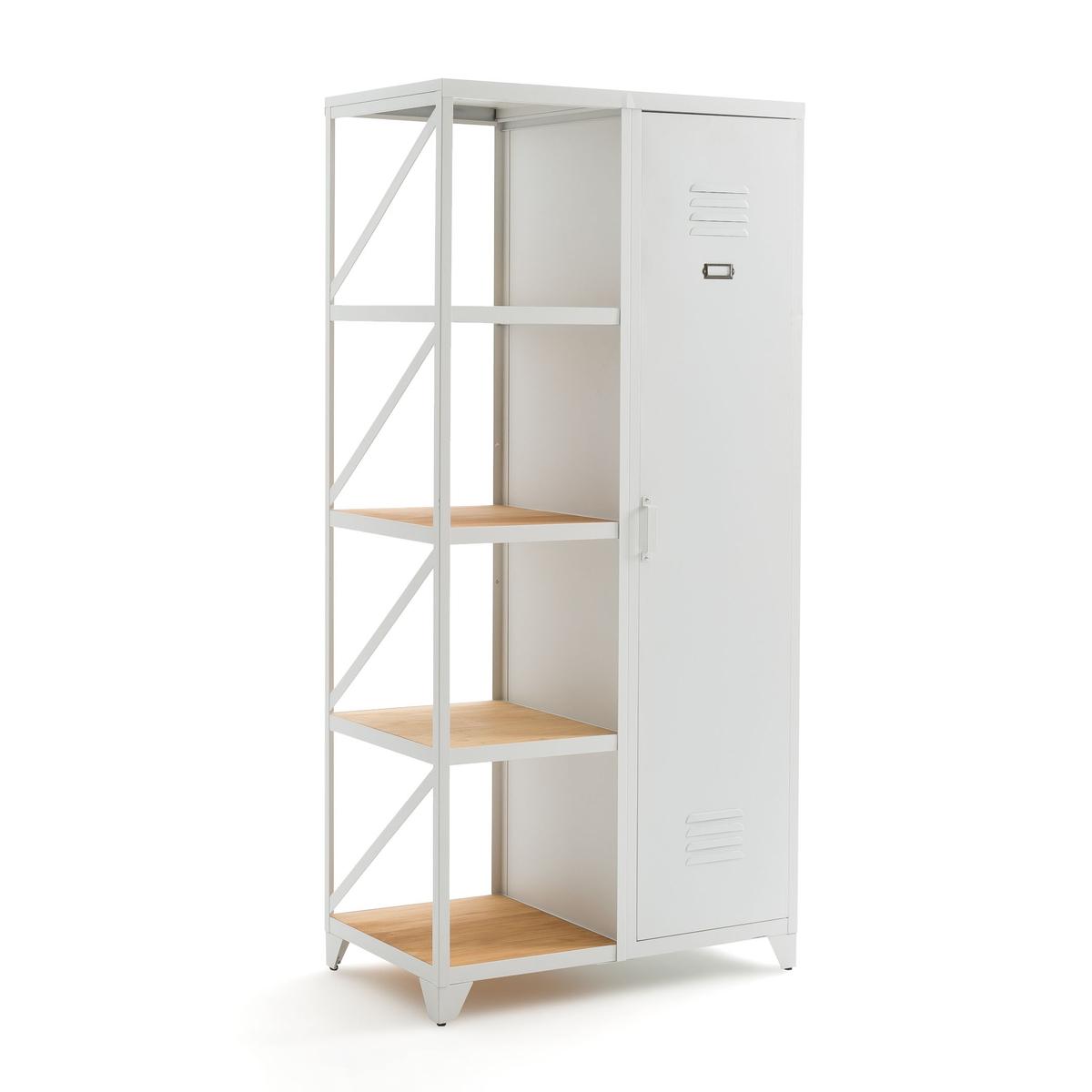 Шкаф-стеллаж La Redoute С дверцей из металла и сосны покрытой олифой Hiba единый размер белый