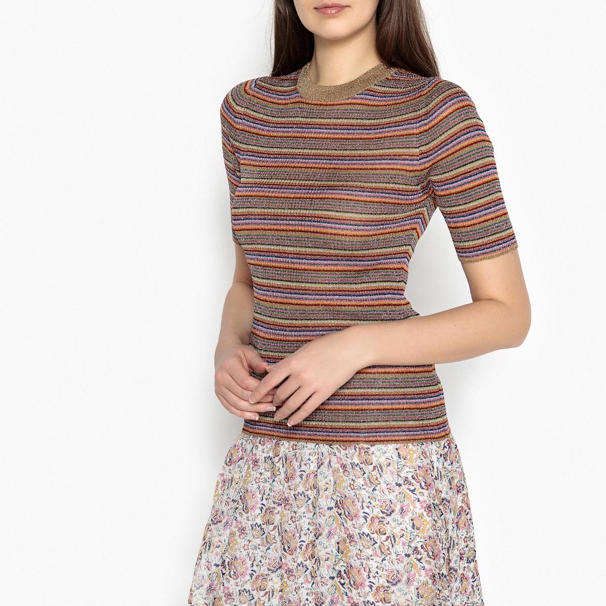 Пуловер в рубчик с короткими рукавами SWANG
