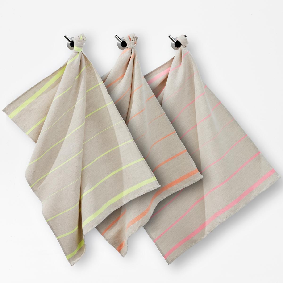 Кухонные полотенца в флуоресцентную полоску из смешанной ткани из льна/хлопка (комплект из 3 шт.) полотенца кухонные la pastel полотенце gabel 50х70 вишня