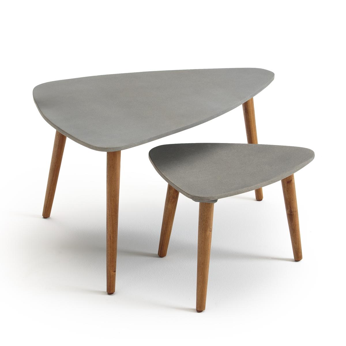 Комплект из 2 журнальных столиков для сада, вдвигающихся друг в друга, Julma неизвестный друг
