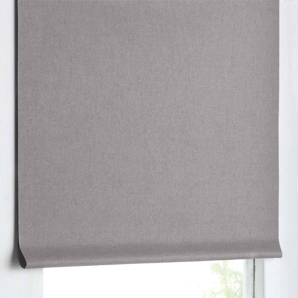 Штора LaRedoute Римская затемняющая 100 хлопок 170 x 37 см серый