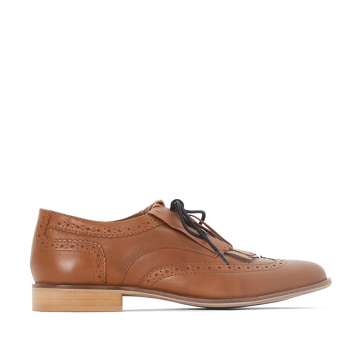 Ботинки-дерби из кожи с бахромой,размер 38-45