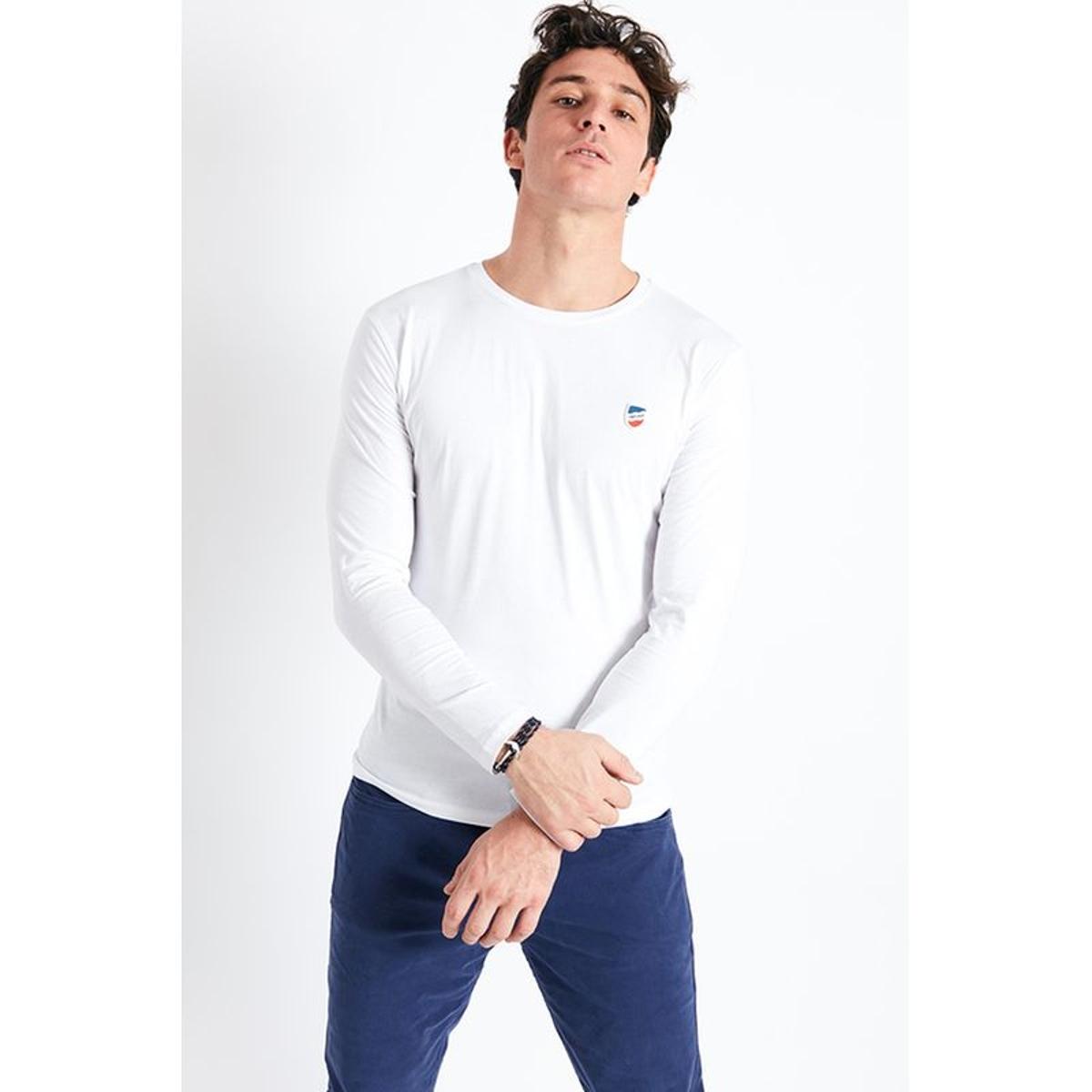 T-shirt manches longues blanc écusson silicone