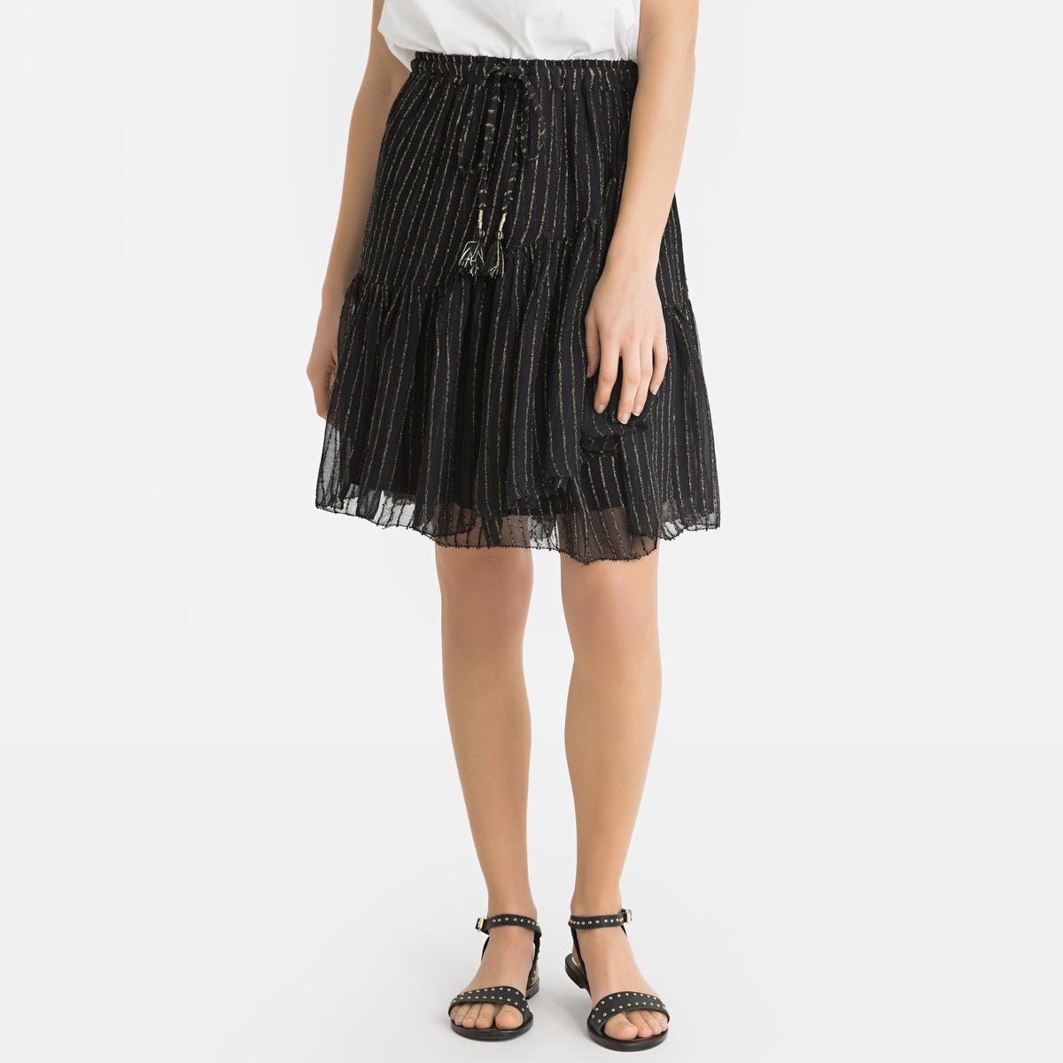 Юбка La Redoute Короткая расклешенная из вуали OLLY 1(S) черный юбка la redoute короткая расклешенная с цветочным рисунком и оборками на поясе xs бежевый