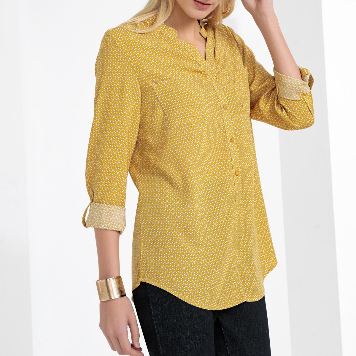 Imagen secundaria de producto de Blusa estampada con cuello de pico y tejido vaporoso - Anne weyburn