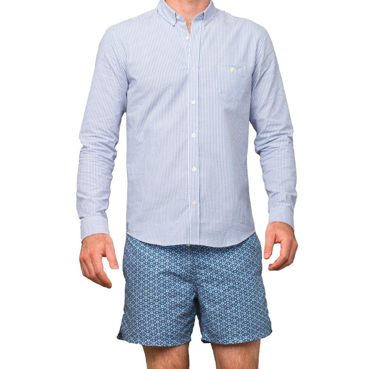 Chemise bleu à motif seersucker