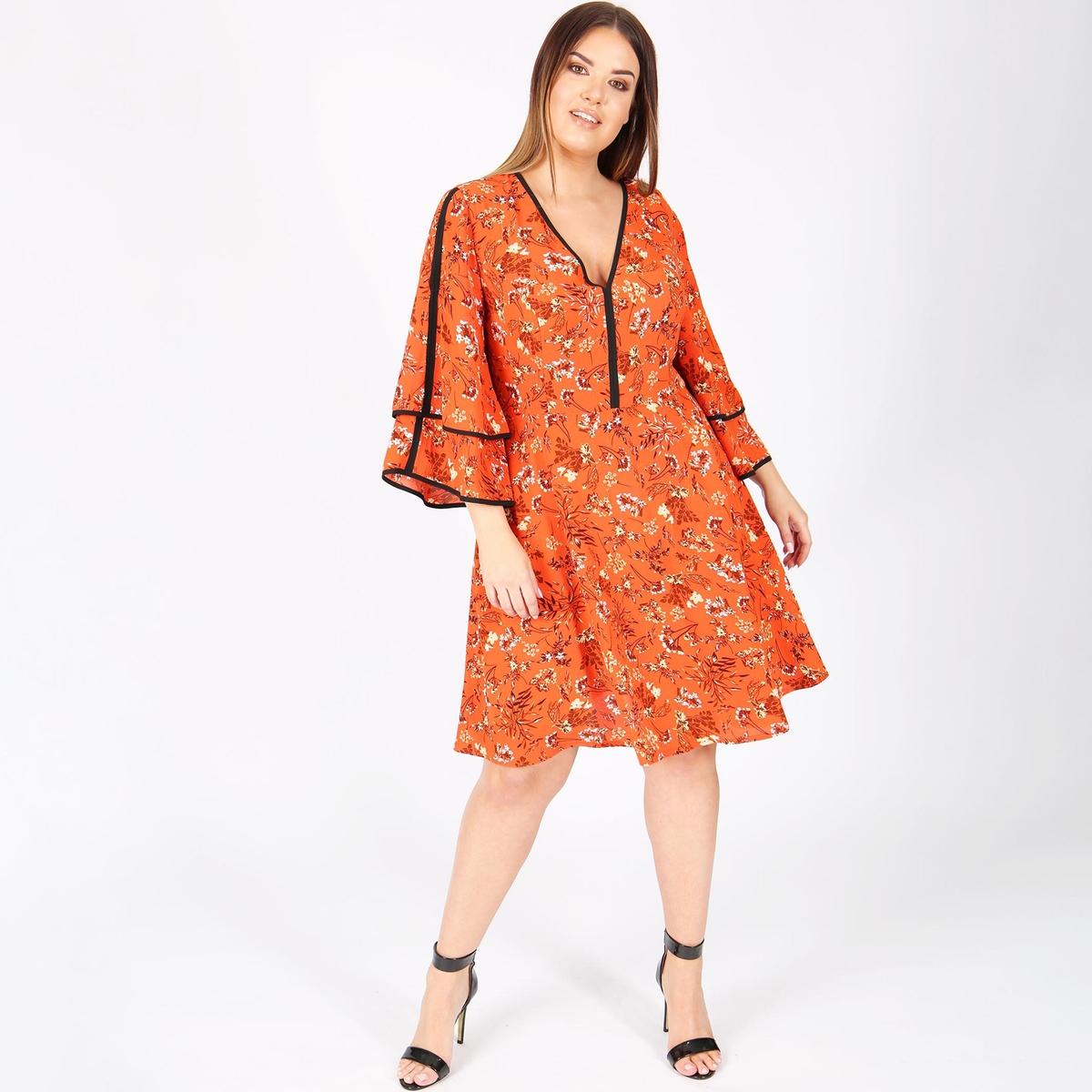 Платье расклешенное средней длины с рисункомДетали •  Форма: расклешенная •  Длина до колен •  Рукава 3/4    •   V-образный вырез •  Рисунок-принтСостав и уход •  100 % полиэстер •  Следуйте советам по уходу, указанным на этикеткеТовар из коллекции больших размеров<br><br>Цвет: рисунок/оранжевый<br>Размер: 48 (FR) - 54 (RUS)