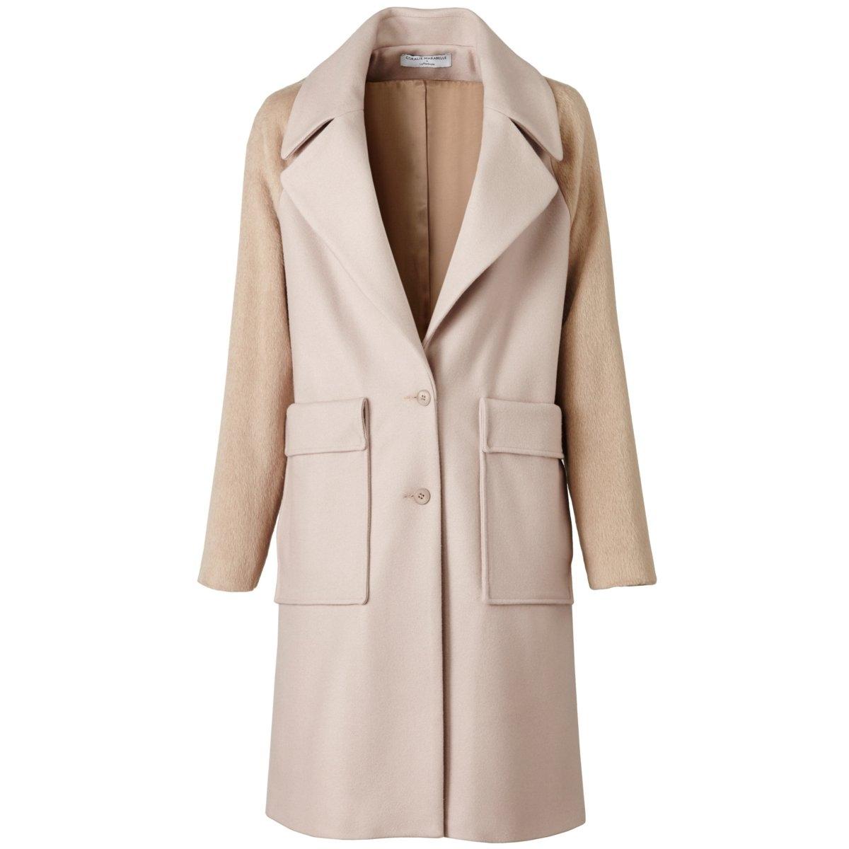 Пальто прямого покроя<br><br>Цвет: темно-бежевый,черный<br>Размер: 40 (FR) - 46 (RUS).40 (FR) - 46 (RUS).44 (FR) - 50 (RUS)