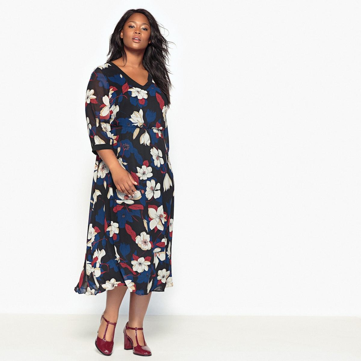 Платье струящееся с рисунком платье футляр с цветочным рисунком
