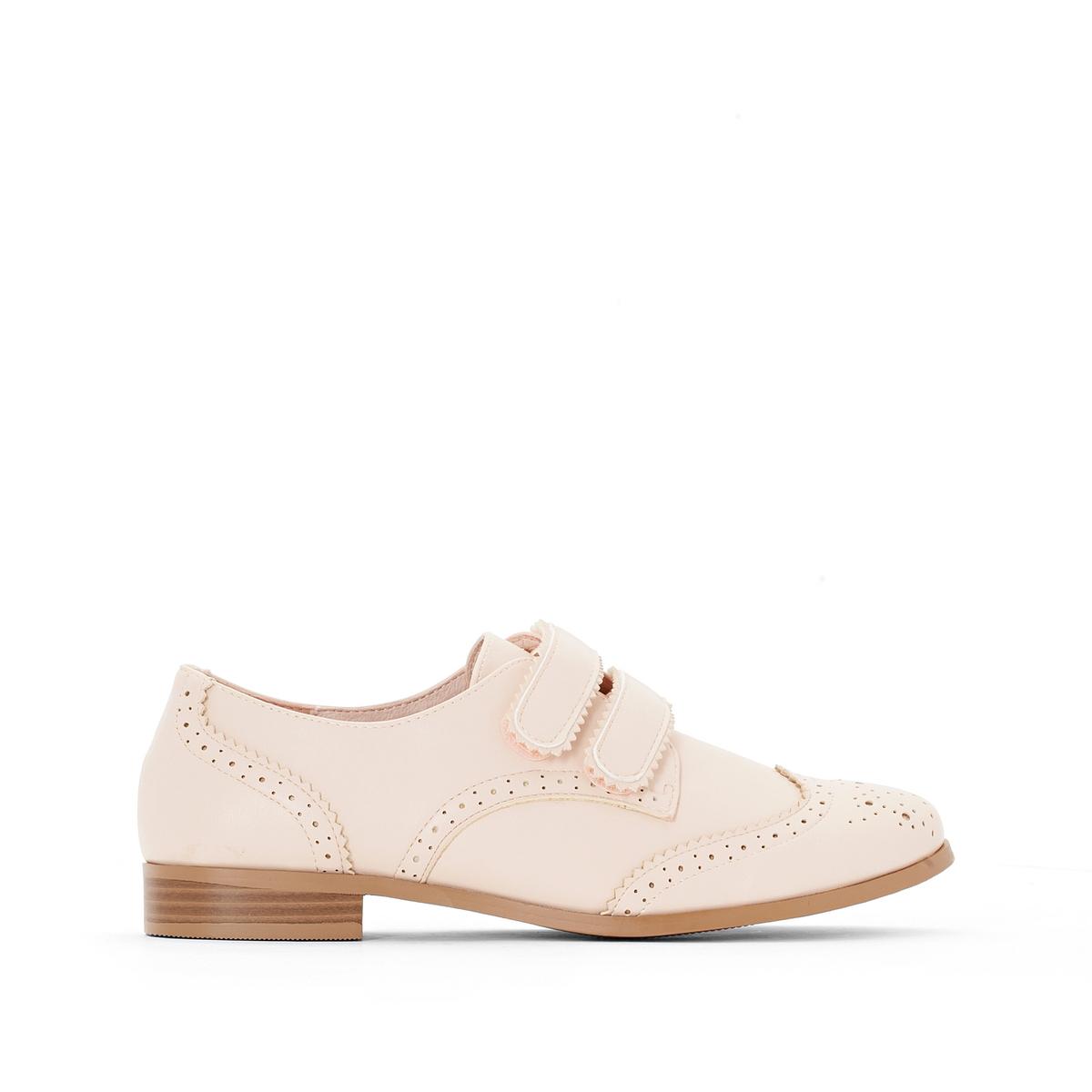 Ботинки-дерби телесного цвета с перфорированным мыском и планкой-велкро