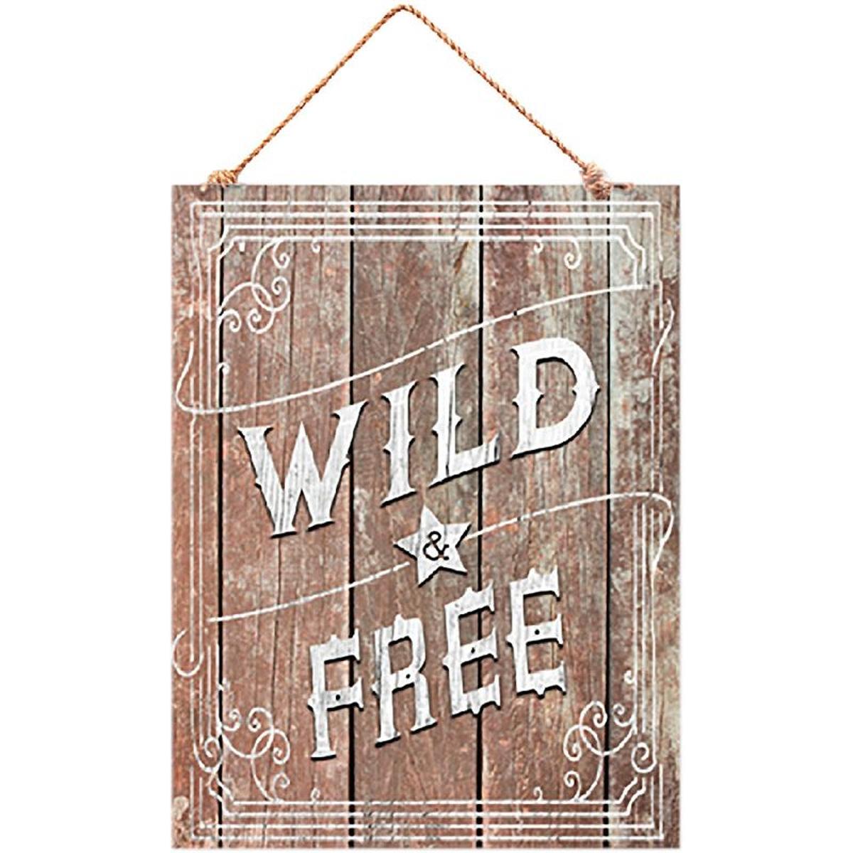 Décoration murale Wild and Free à suspendre citation