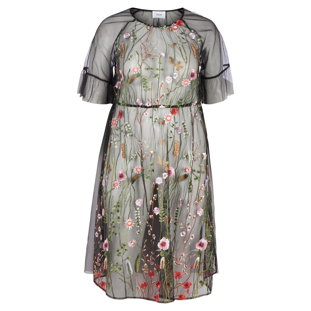 купить Платье расклешенное с цветочным рисунком и короткими рукавами по цене 4999.2 рублей