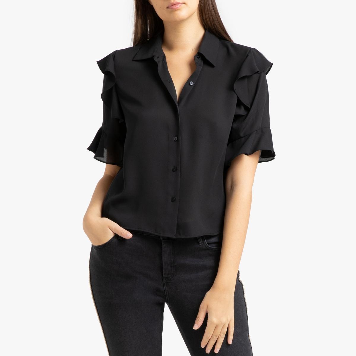 Блузка La Redoute С воланами и короткими рукавами 3(L) черный все цены