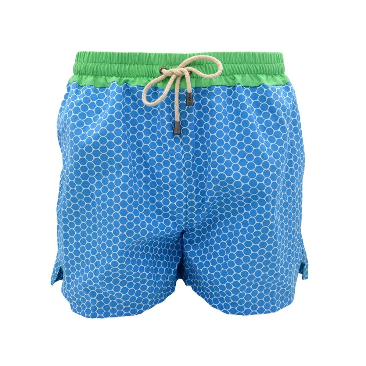 Short de bain imprimés bleu foncés avec ceinture verte