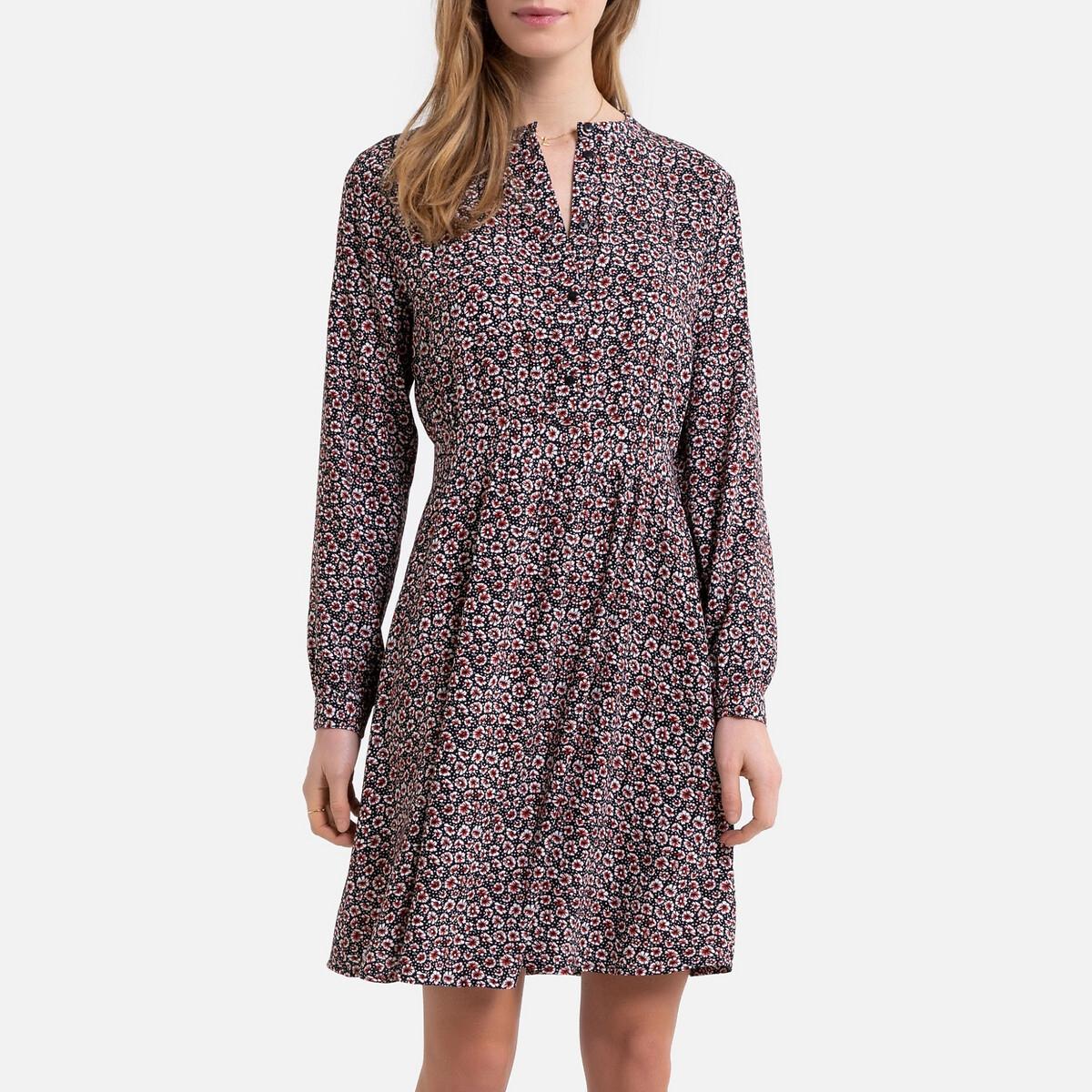 Платье-рубашка La Redoute С принтом воротник-стойка 40 (FR) - 46 (RUS) черный платье la redoute прямое с принтом до колен 48 fr 54 rus черный