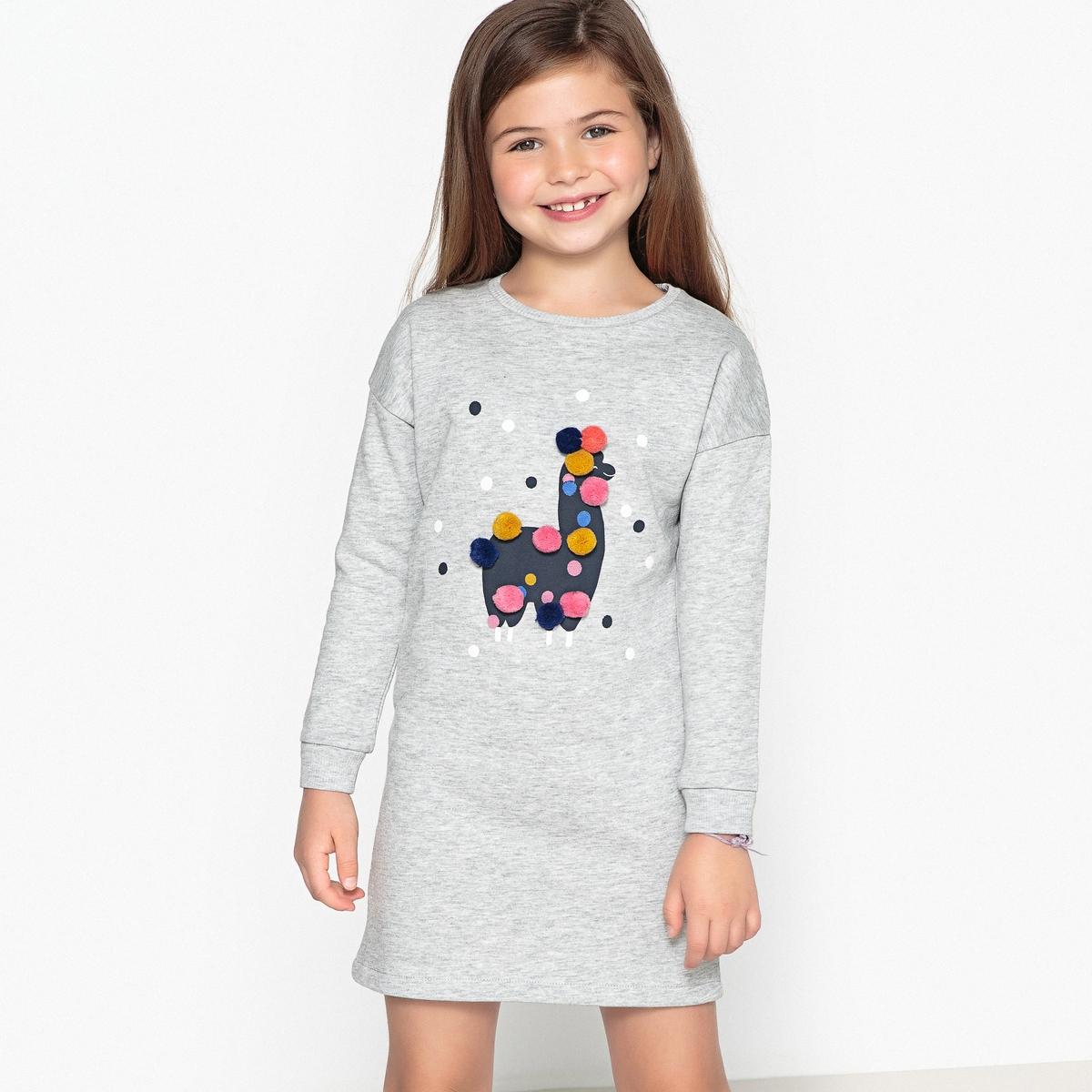Платье из мольтона с рисунком лама и с помпонами 3-12 лет бермуды из мольтона с рисунком на 3 12 лет