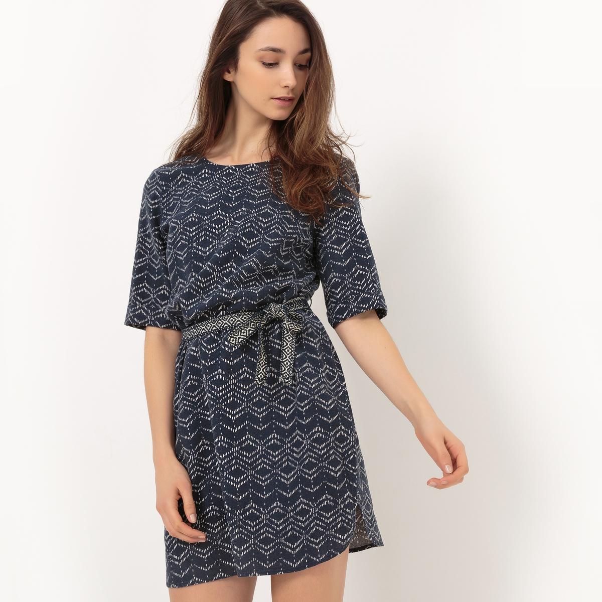 Платье с короткими рукавами и завязкамиМатериал : 45% вискозы, 55% льна  Длина рукава : короткие рукава  Форма воротника : круглый вырез Покрой платья : платье прямого покроя    Рисунок : однотонная модель   Длина платья : до колен<br><br>Цвет: темно-синий,экрю
