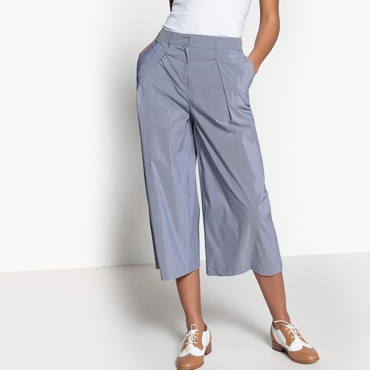 Falda pantalón ancha con rayas finas