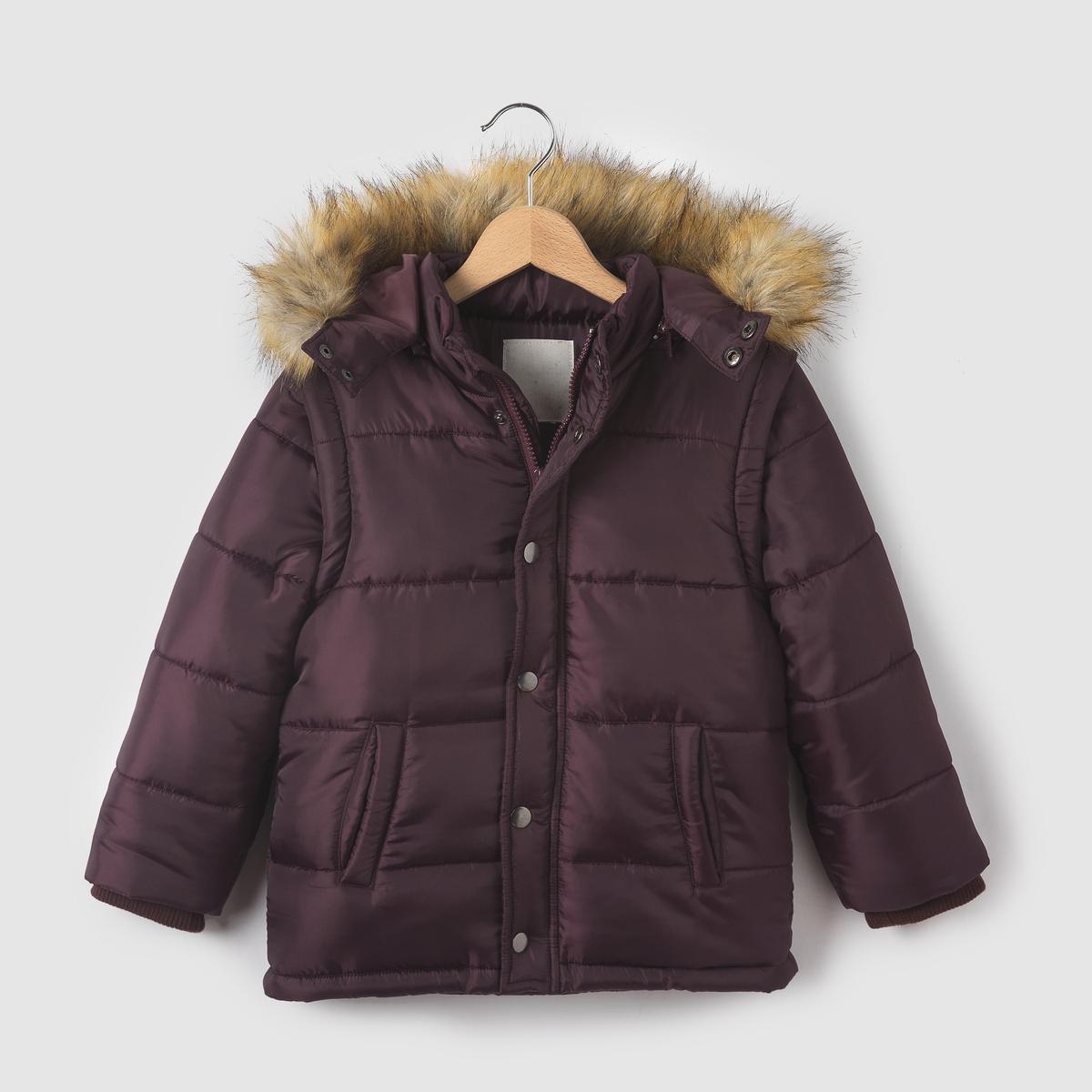 Стеганая куртка со съемными рукавами и  капюшоном 3-12 летСостав и описание : Материал: 100% полиэстера.. Искусственный мех,100% полиэстера      Подкладка    основная часть на флисовой подкладке 100% полиэстера, капюшон и рукава на подкладке 100% полиэстераМарка: R essentiel.Уход :Машинная стирка при 30°C, с одеждой подобных цветов.- Стирать и гладить с изнаночной стороны..- Машинная сушка в умеренном режиме.Гладить при умеренной температуре.<br><br>Цвет: бордовый