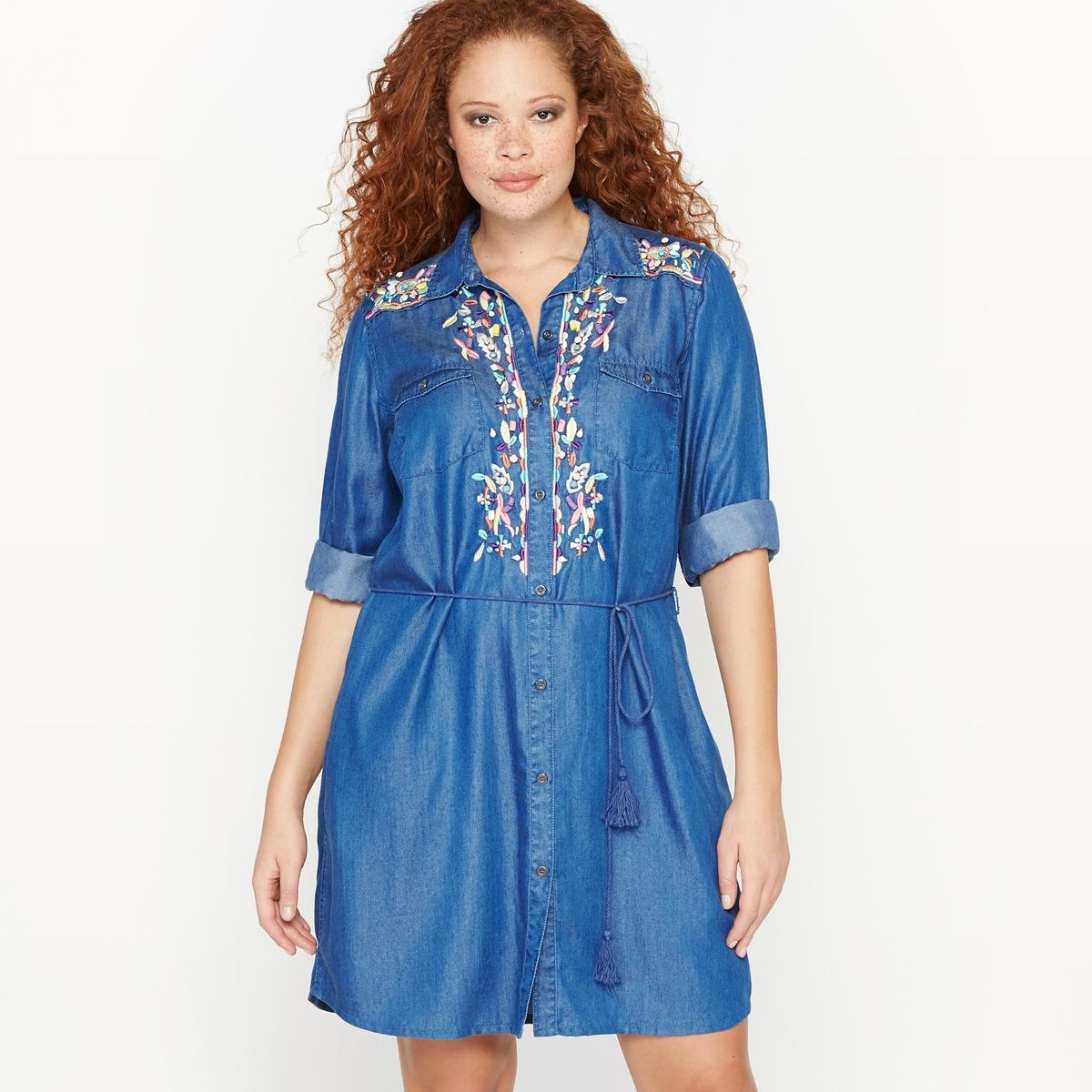 Платье-рубашка с вышивкойСостав и описание :Материал : ткань, 100% лиоцелл.Длина : 98 см для размера 48.Марка : CASTALUNAУход : Машинная стирка при 40 °С.<br><br>Цвет: синий деним