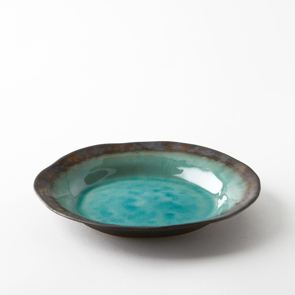 Тарелка десертная из глазурованной керамики, AltadillМыть в посудомоечной машине запрещено. .<br><br>Цвет: голубой бирюзовый