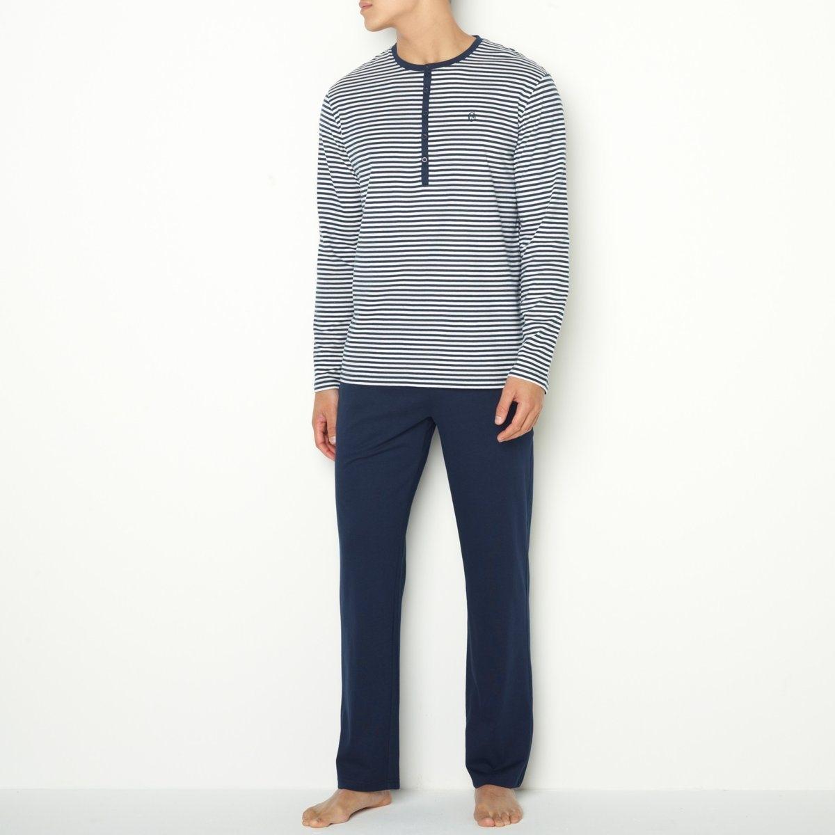 ПижамаДжерси, 100% хлопка. Футболка в полоску с длинными рукавами. Вышивка на груди. Однотонные брюки с эластичным поясом. 2 кармана по бокам.<br><br>Цвет: в полоску синий + белый,в полоску синий/светло-серый<br>Размер: XL.XXL