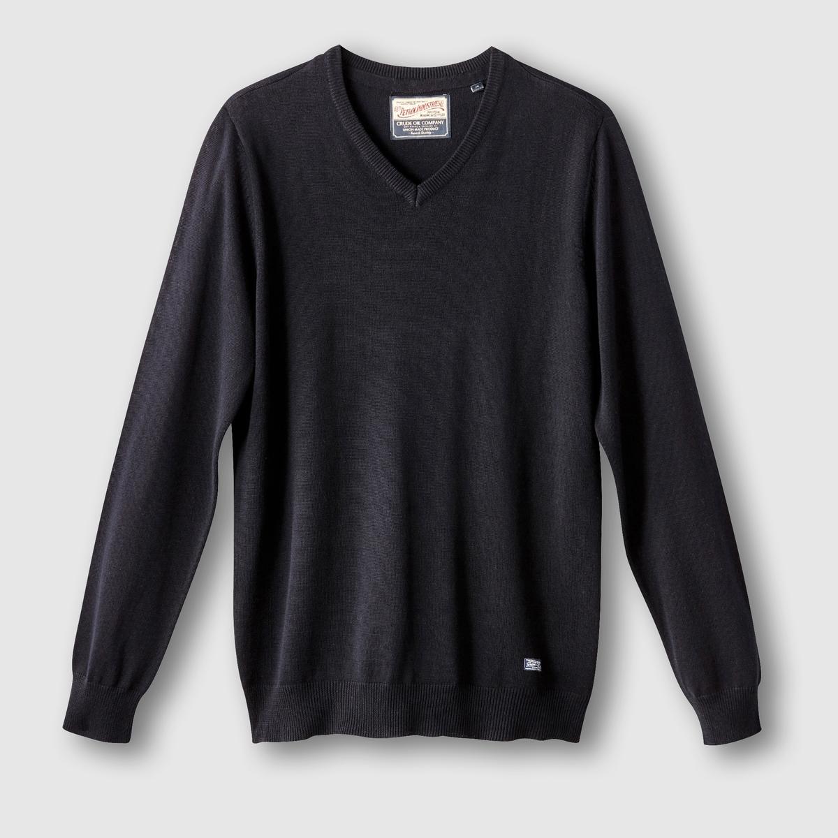 Пуловер с V-образным вырезомСостав и описание:Материал: 50% акрила, 50% хлопка.Марка: PETROL INDUSTRIES.<br><br>Цвет: каштановый меланж,черный<br>Размер: S