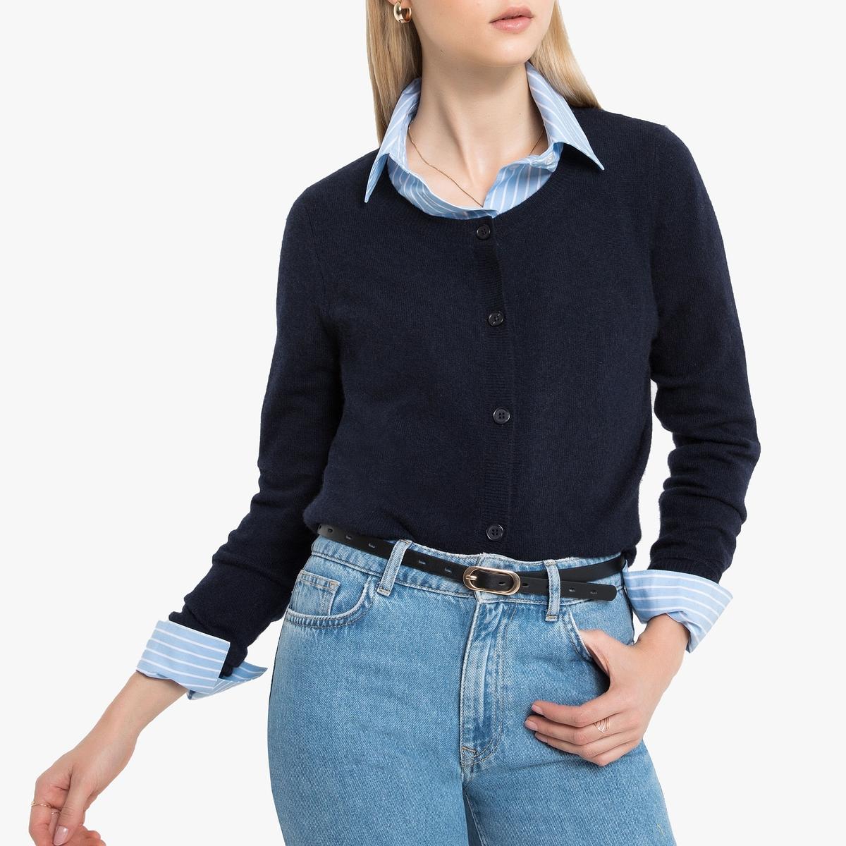 Кардиган La Redoute С круглым вырезом из кашемира S синий пуловер la redoute с круглым вырезом из шерсти мериноса pascal 3xl черный