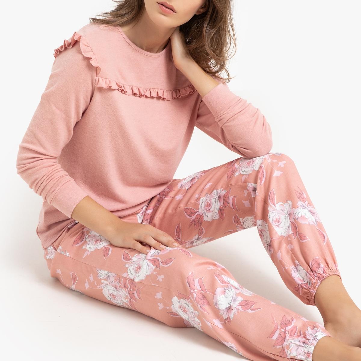 Пижама-пуловер La Redoute С воланами низ с цветочным принтом 52 (FR) - 58 (RUS) розовый